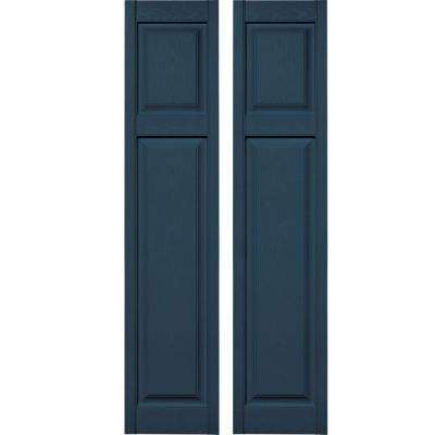 15 in. x 67 in. Cottage Style Raised Panel Vinyl Exterior Shutters Pair #036 Classic Blue