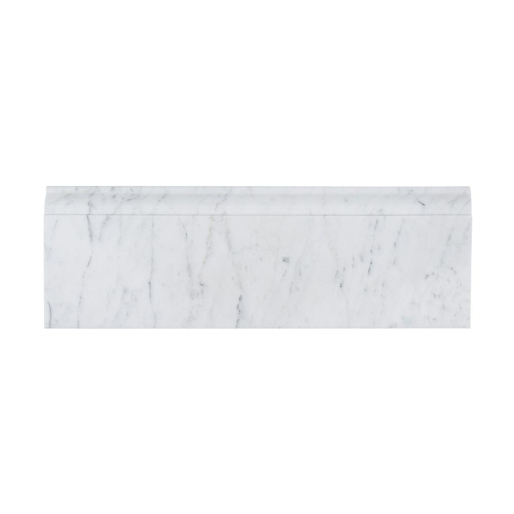 Jeff Lewis Italian White Carrara 4 in. x 12 in. Honed Marble Base ...
