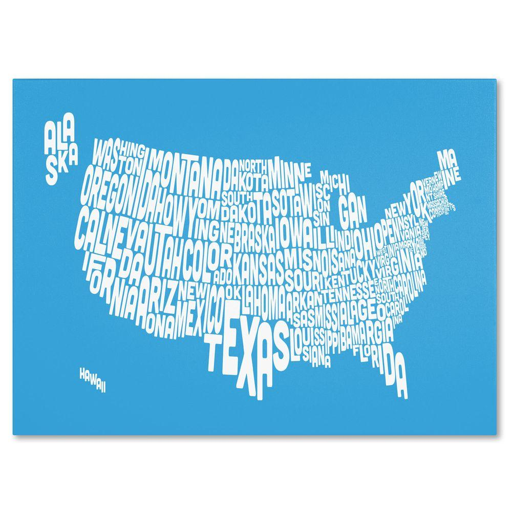 16 in. x 24 in. USA States Text Map - Azul