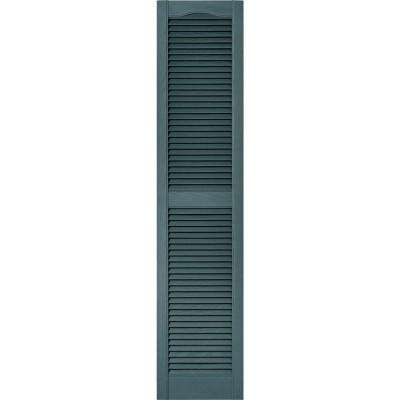 15 in. x 67 in. Louvered Vinyl Exterior Shutters Pair in #004 Wedgewood Blue