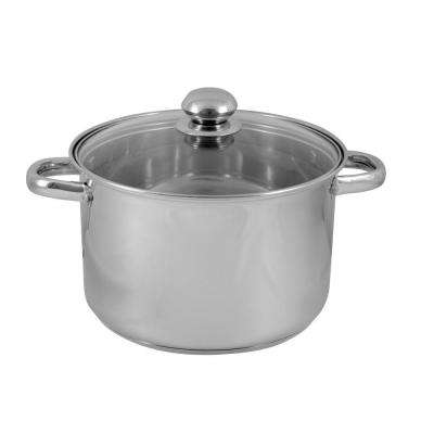 8 Qt. Covered Stock Pot with Glass Lid in Silver