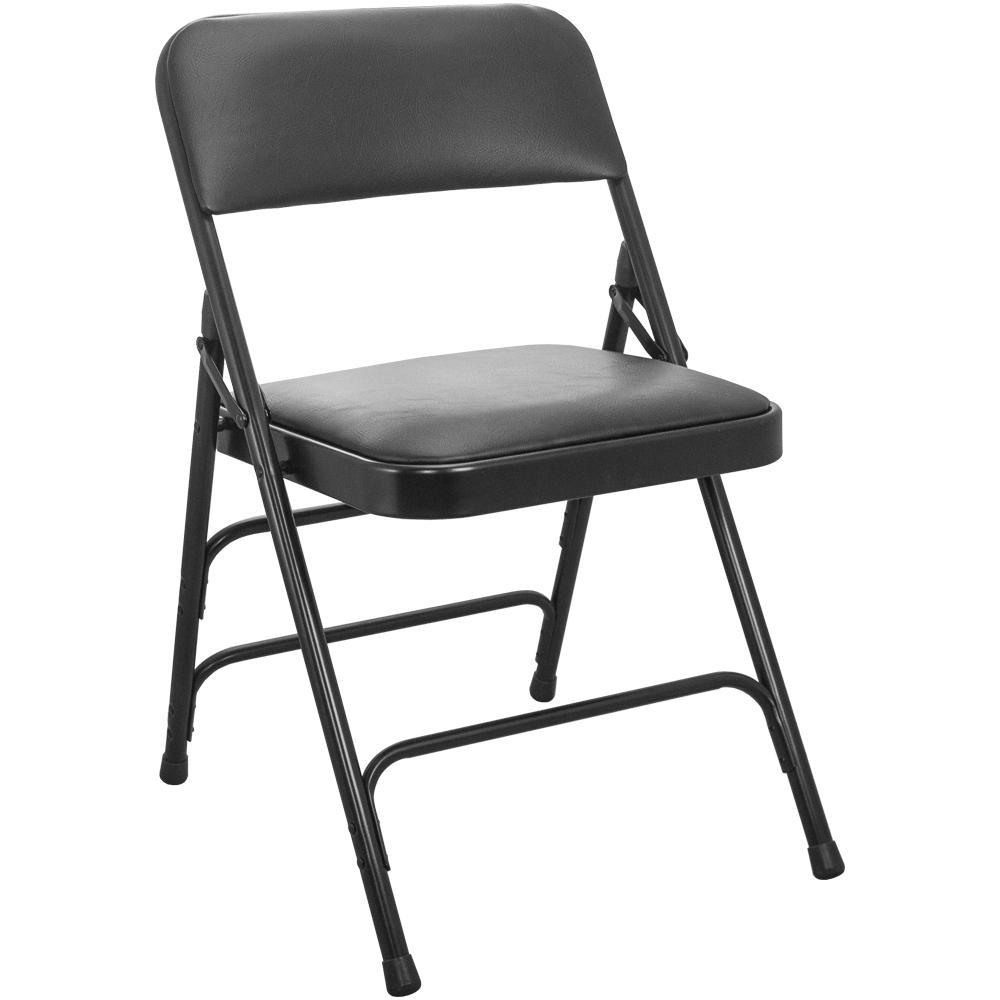 1 in. Black Vinyl Seat Padded Metal Folding Chair (4-Pack)