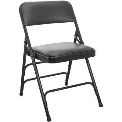 1 in. Black Vinyl Seat Advantage Padded Metal Folding Chair