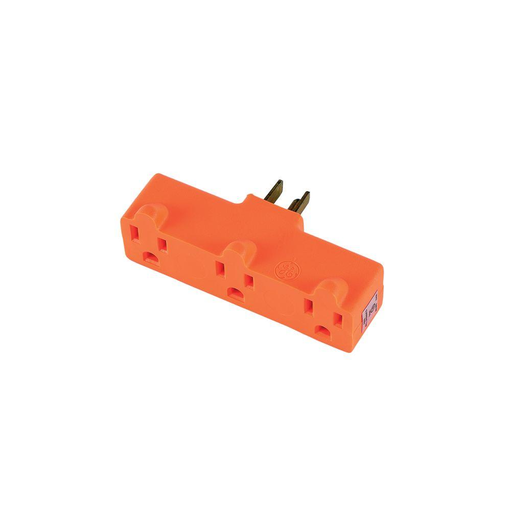 GE 3-Outlet Heavy Duty Grounded Adapter, Orange