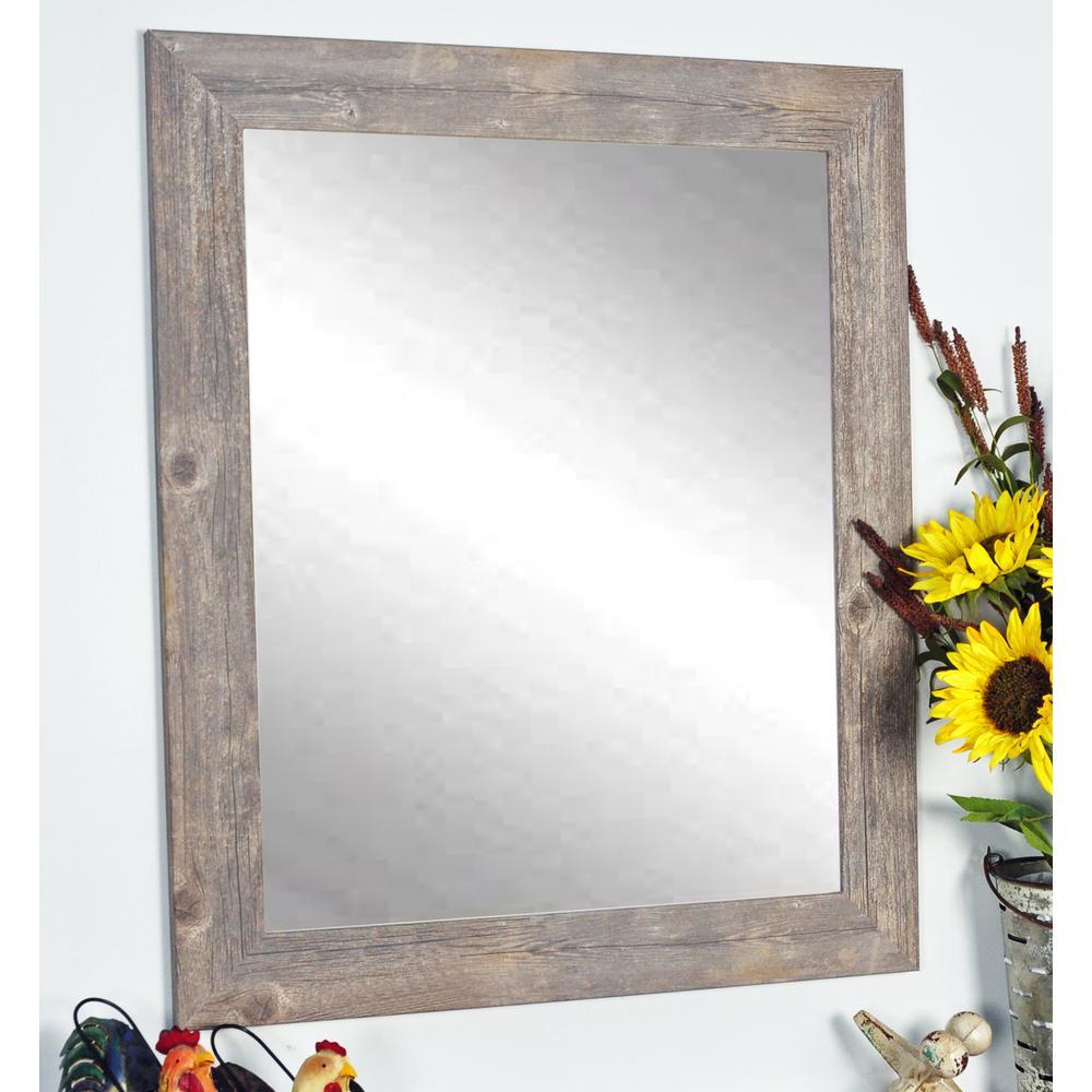 Rustic Wild West Brown Barnwood Decorative Framed Wall Mirror