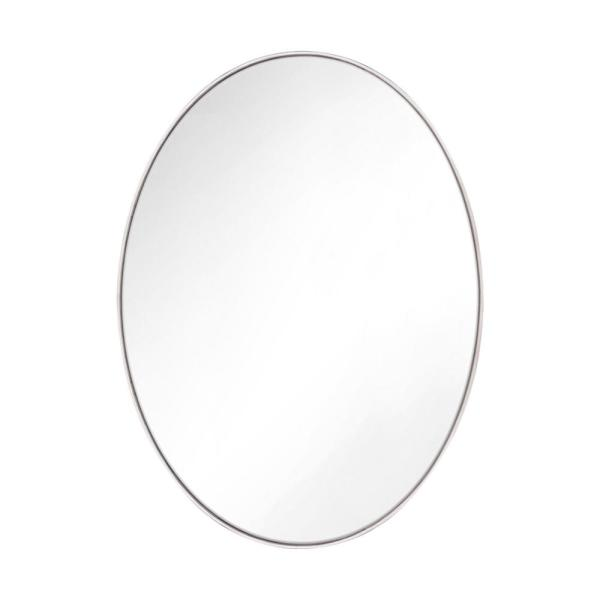 Kit 36 in. x 24 in. Polished Nickel Transitional Oval Mirror