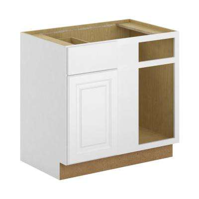 Madison Assembled 36x34.5x24 in. Blind Corner Base Cabinet in Warm White