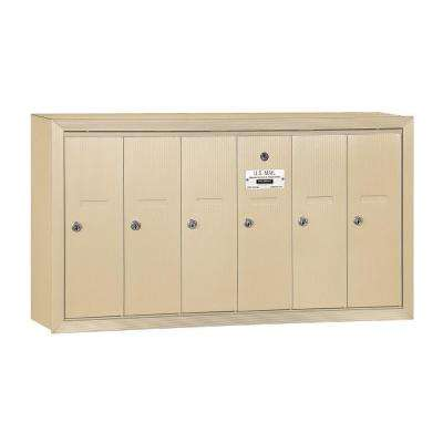 3500 Series Sandstone Surface-Mounted Private Vertical Mailbox with 6 Doors