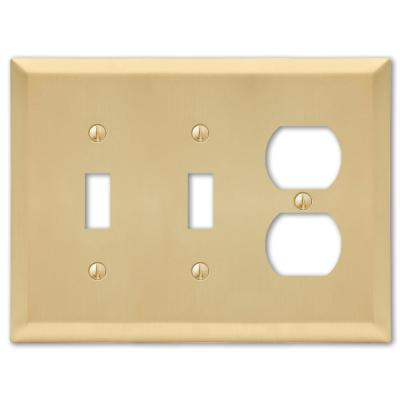 Metallic 3 Gang 2-Toggle and 1-Duplex Steel Wall Plate - Satin Brass