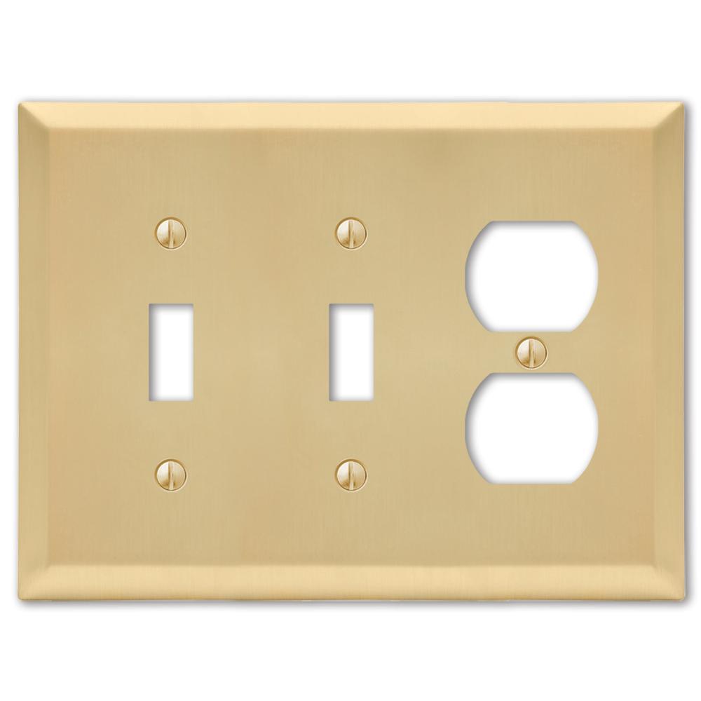 Metallic 3 Gang 2-Toggle and 1-Duplex Steel Wall Plate - Satin Brass