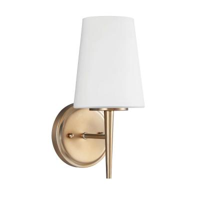 Driscoll 1-Light Satin Brass Wall/Bath Sconce with Inside White Painted Etched Glass