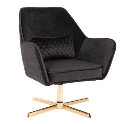 Diana Black Velvet and Gold Metal Lounge Chair with Swivel