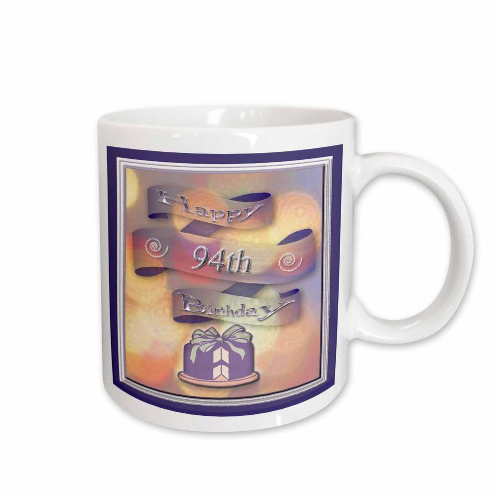 3dRose Beverly Turner Birthday Design Ribbon And Cake Happy 94th 11 Oz White Ceramic Coffee Mug 24441 1