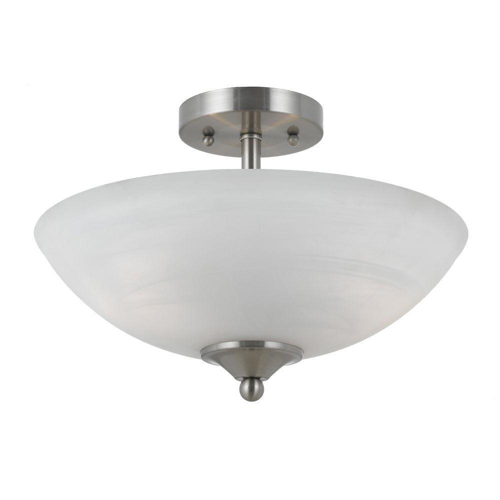 Illumine 2 Light Semi Flush Mount Satin Nickel Finish White Swirl Alabaster Glass