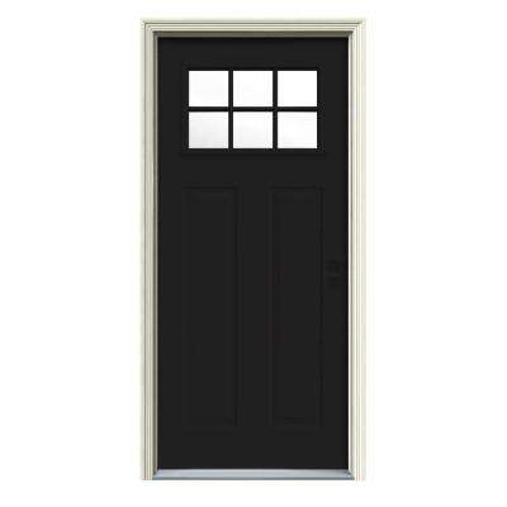 32 in. x 80 in. 6 Lite Craftsman Black w/White Interior Steel Prehung Left-Hand Inswing Front Door w/Brickmould
