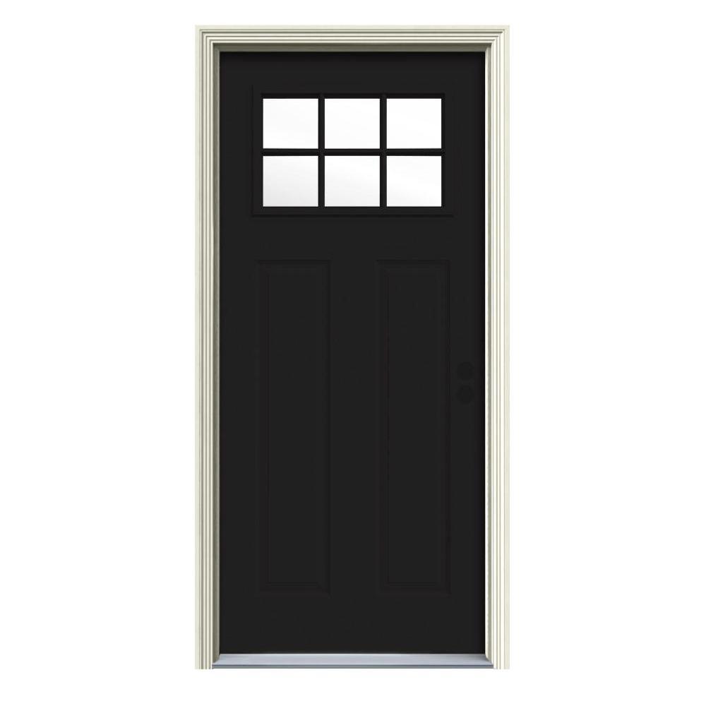 32 in. x 80 in. 6 Lite Craftsman Black Painted Steel Prehung Left-Hand Inswing Front Door w/Brickmould