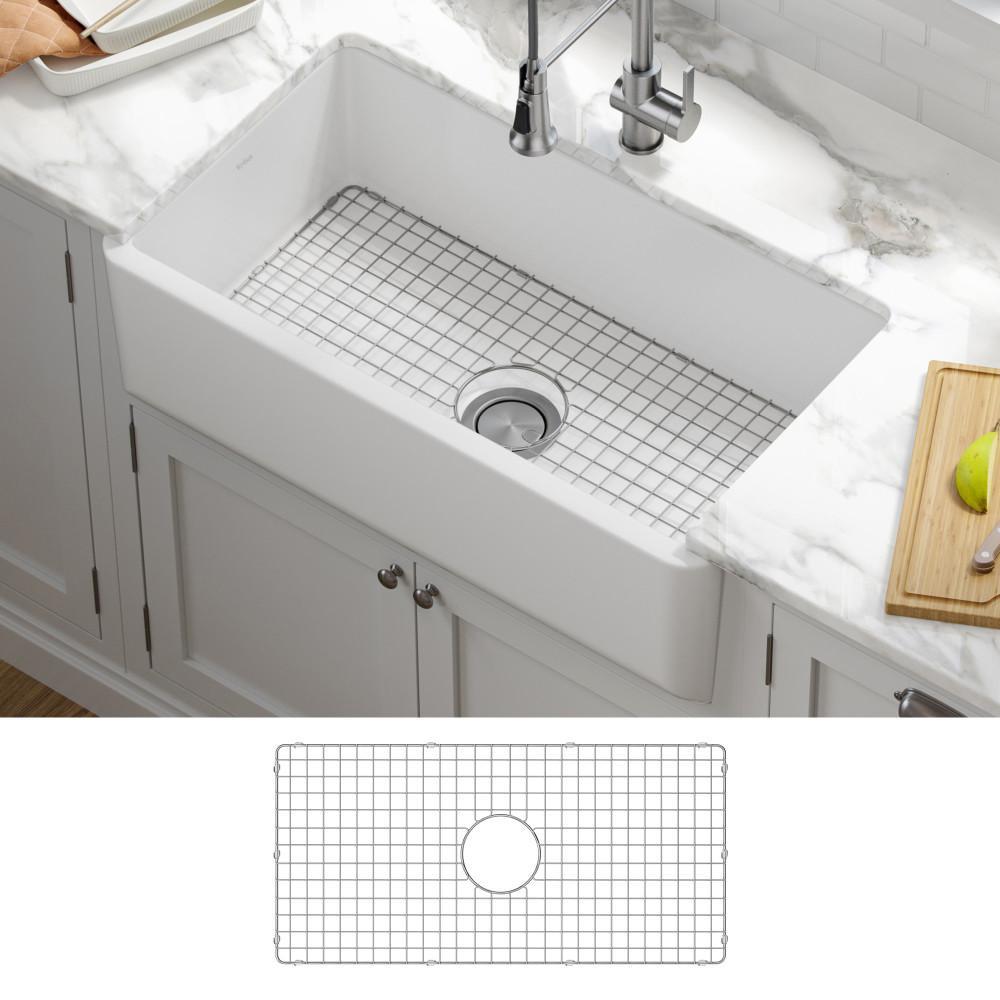 Turino White Fireclay 33 in. Single Bowl Farmhouse Apron Kitchen Sink