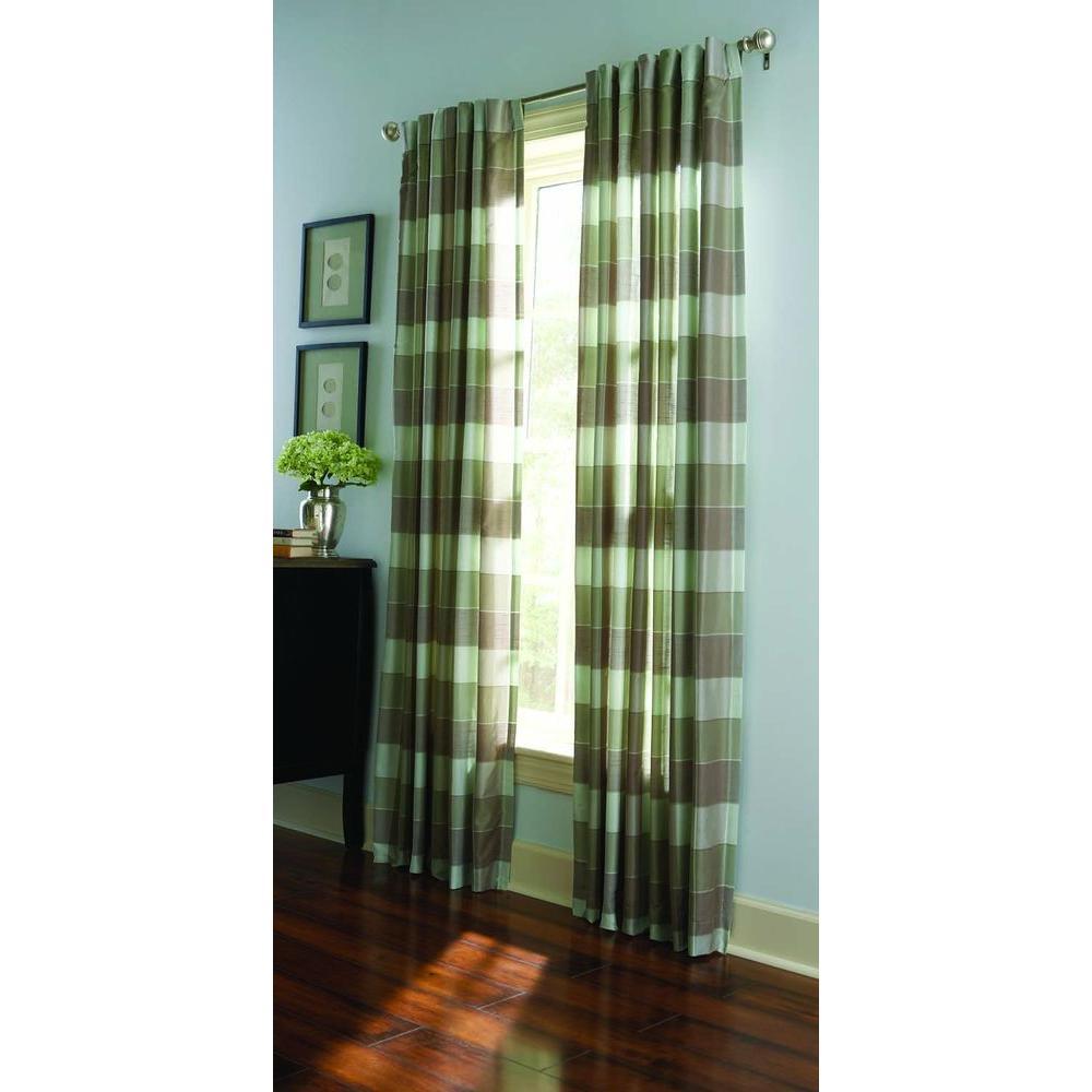 Semi Opaque Spring Melt Faux Silk Plaid Curtain