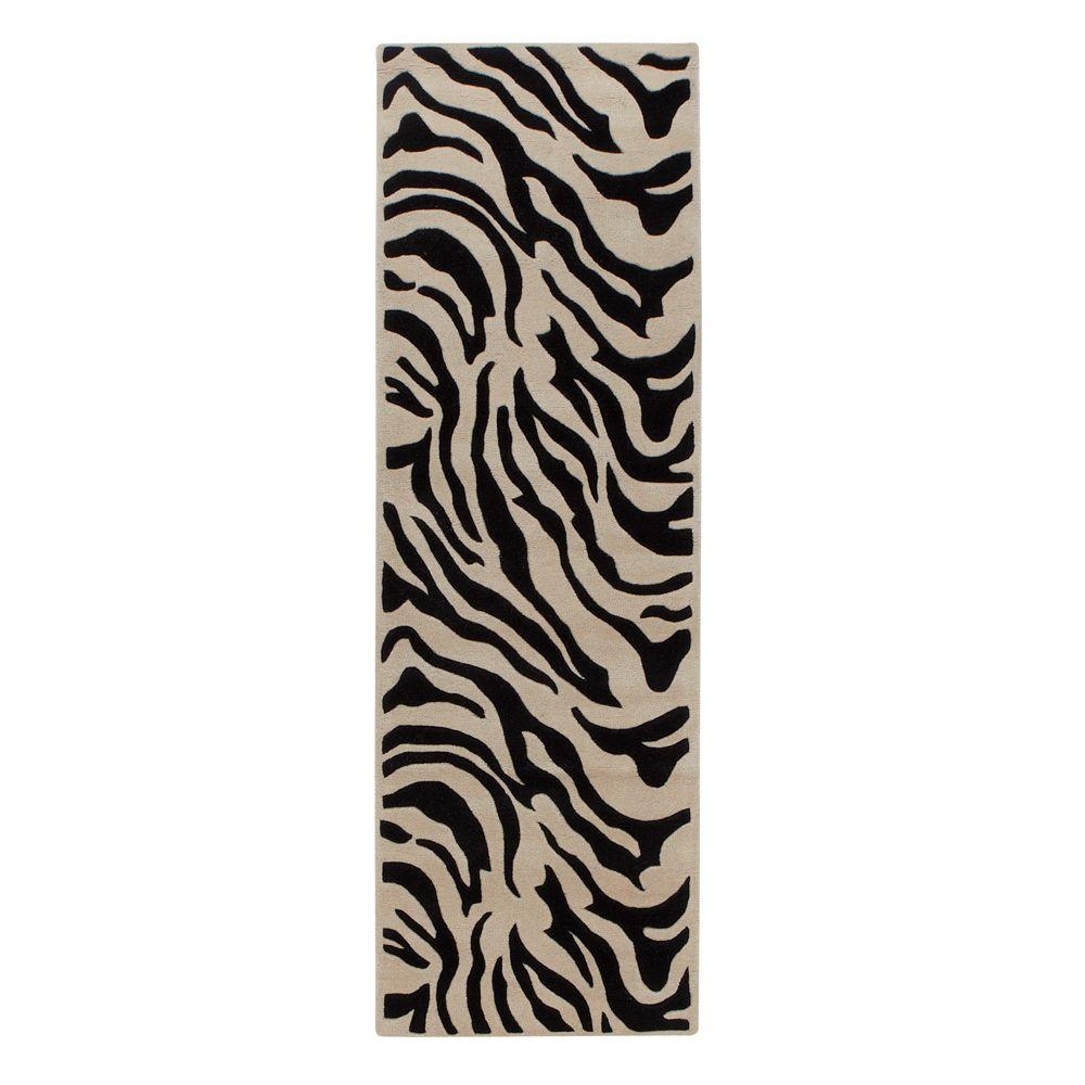 Home Decorators Collection Zebra Black 2 ft. 6 in. x 8 ft. Rug Runner
