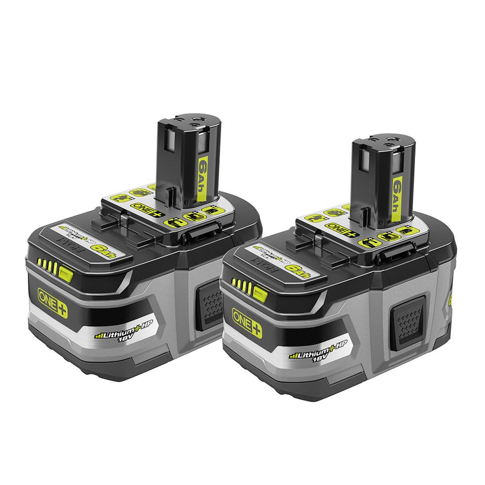 RYOBI RYOBI 18-Volt ONE+ Lithium-Ion 6.0 Ah LITHIUM+ HP High Capacity Battery 2-Pack