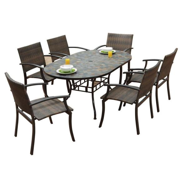 Homestyles Stone Harbor 7 Piece Slate Tile Top Rectangular Patio Dining Set With Newport Chairs 5601 33812 The Home Depot