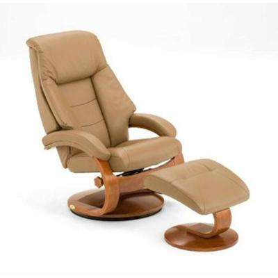 Sand Top Grain Leather Swivel Recliner with Ottoman