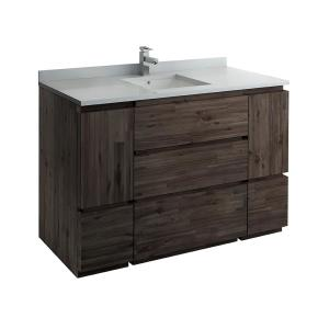 Formosa 54 in. Modern Vanity in Warm Gray with Quartz Stone Vanity Top in White with White Basin