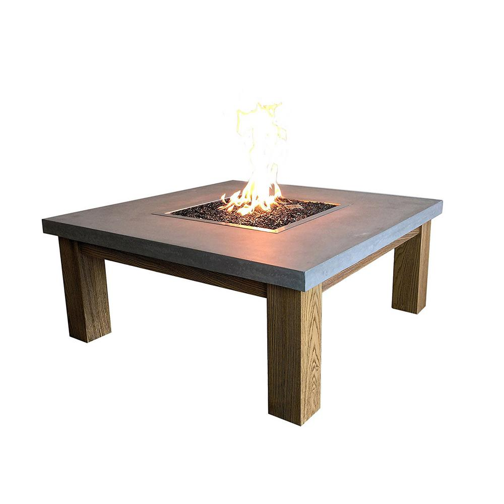 Amish Table 41.6 in. Square Concrete Propane Fire Pit in Modern