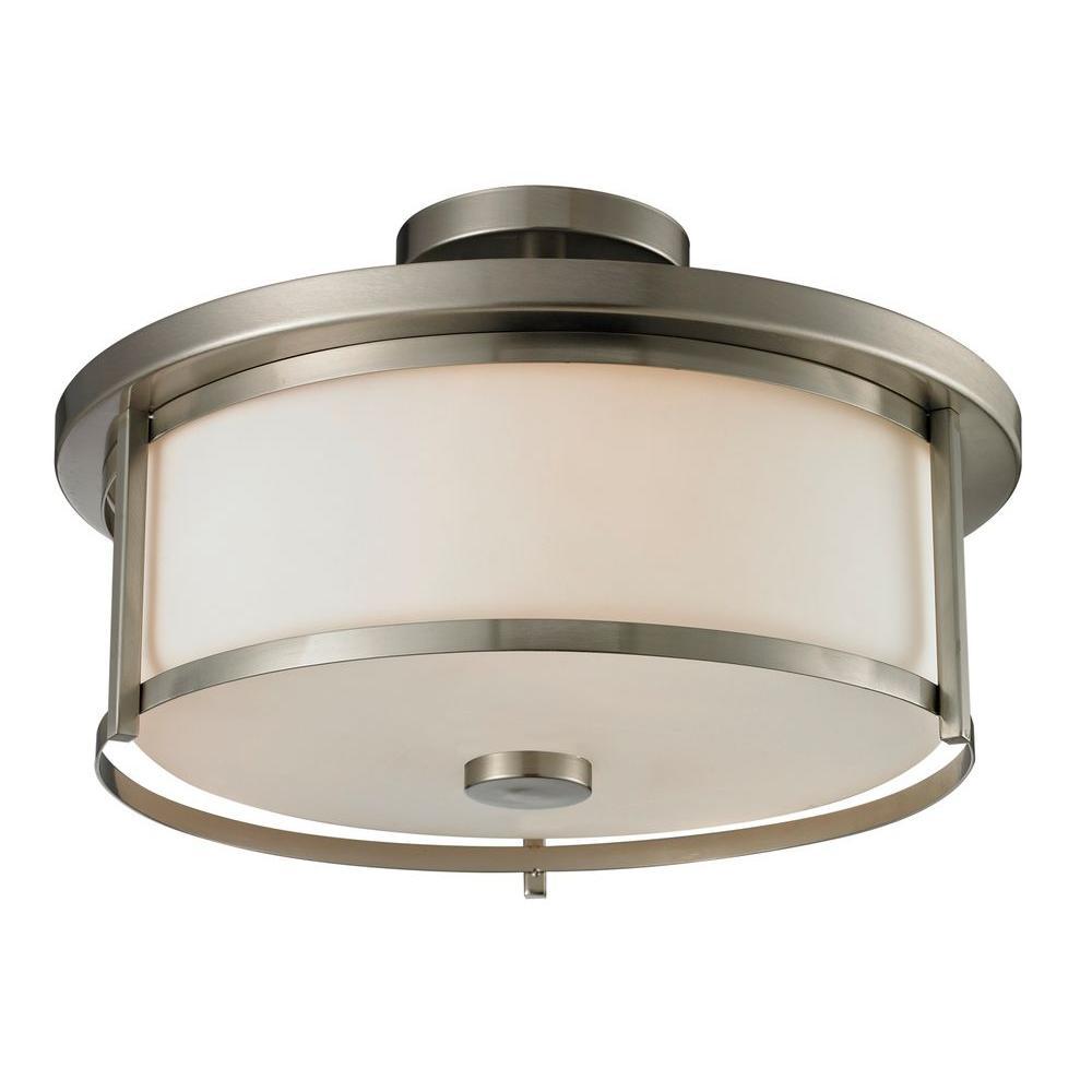 Filament Design Lacy 3-Light Brushed Nickel Semi-Flush Mount Light