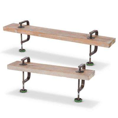 Metal C-Clamp Wood Shelves (Set of 2)