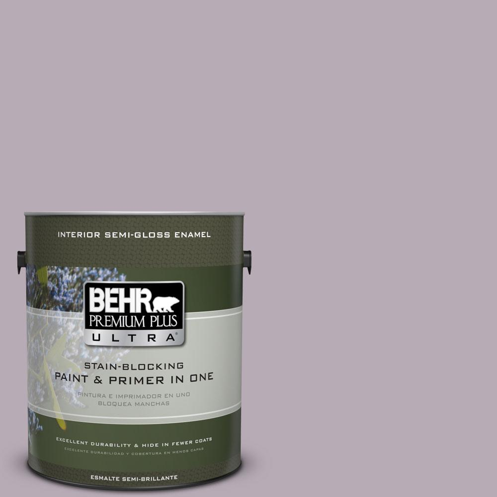 1 gal. #670F-4 Silverberry Semi-Gloss Enamel Interior Paint and Primer in