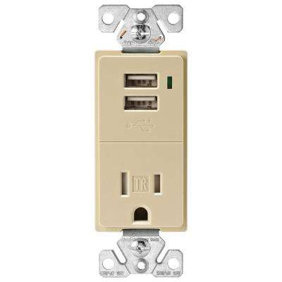 15 Amp Decorator USB Charging Electrical Outlet, Ivory