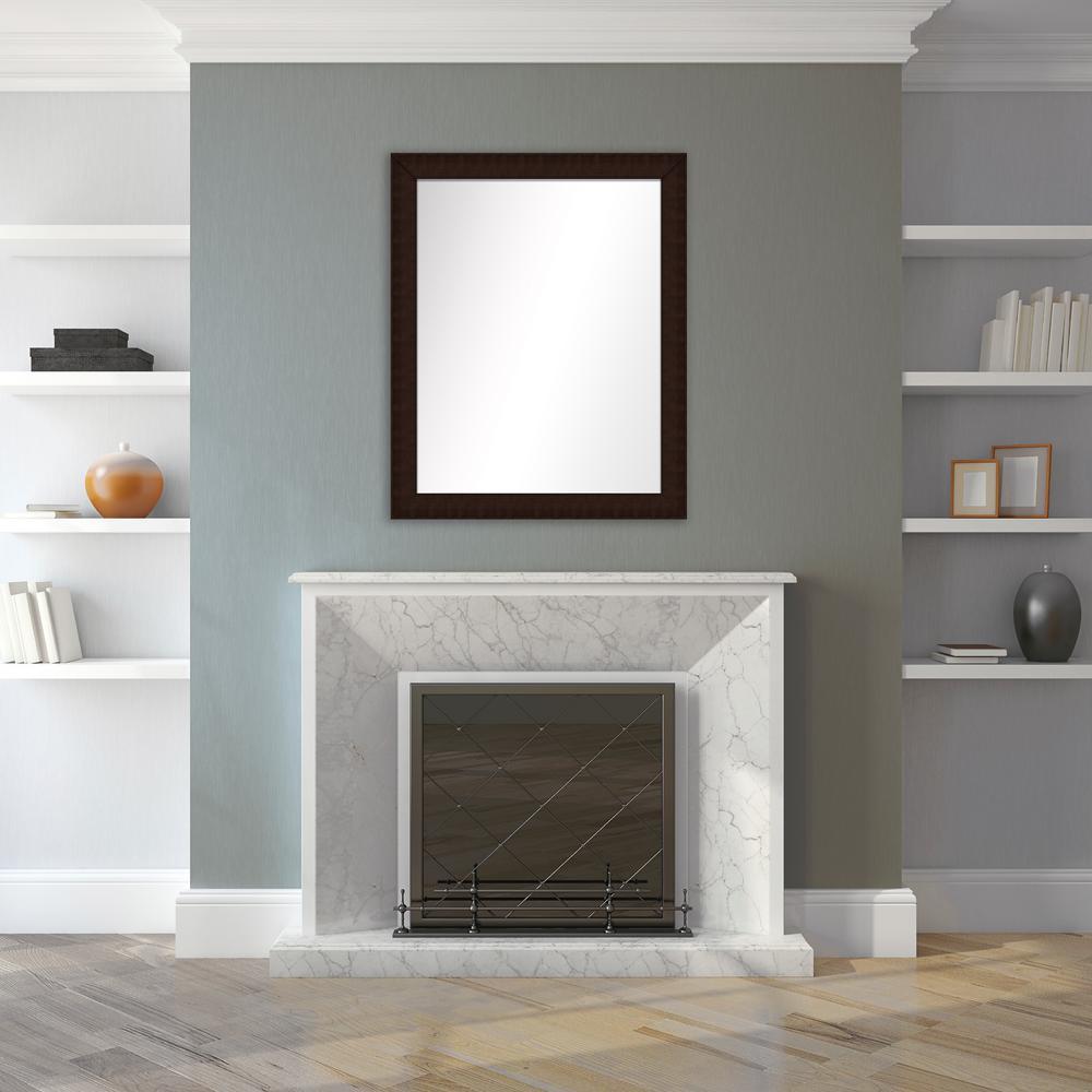 31.5 in. x 25.5 in. Brown Framed Mirror