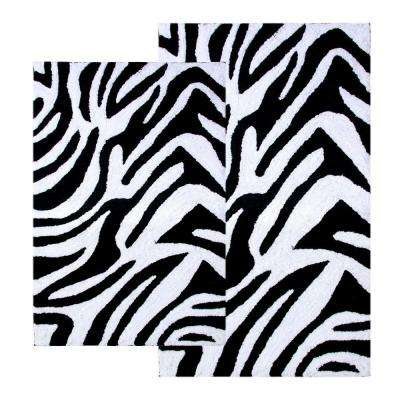Zebra Black and White 21 in. x 34 in. and 24 in. x 40 in. 2-Piece Bath Rug Set