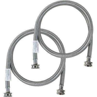 4 ft. Braided Stainless Steel Washing Machine Hoses (2-Pack)
