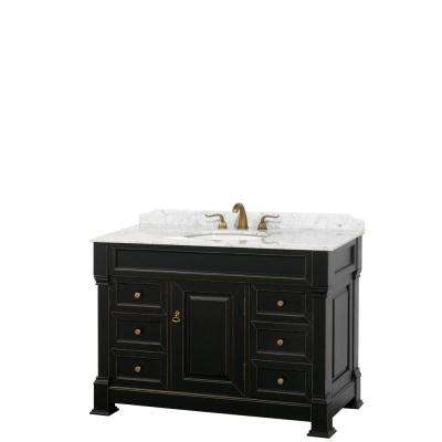 Andover 48 in. W x 23 in. D Bath Vanity in Black with Marble Vanity Top in White with White Basin