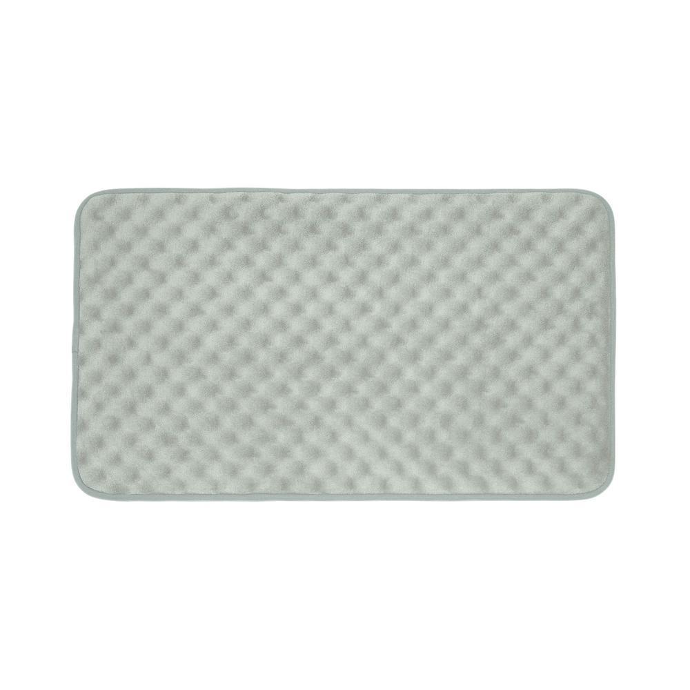 Massage Light Gray 20 in. x 32 in. Memory Foam Bath Mat