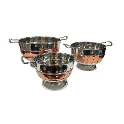 3 Qt. Stainless-Steel Hammered Colander with Copper Tone Stripe