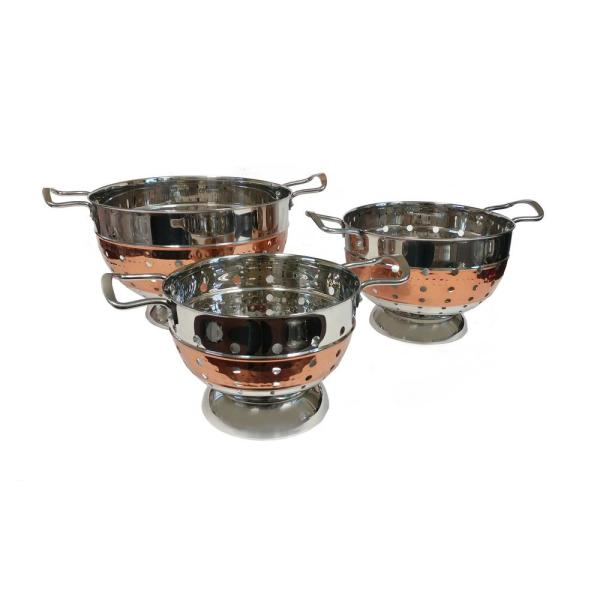 ExcelSteel 3 Qt. Stainless-Steel Hammered Colander with Copper Tone Stripe 943