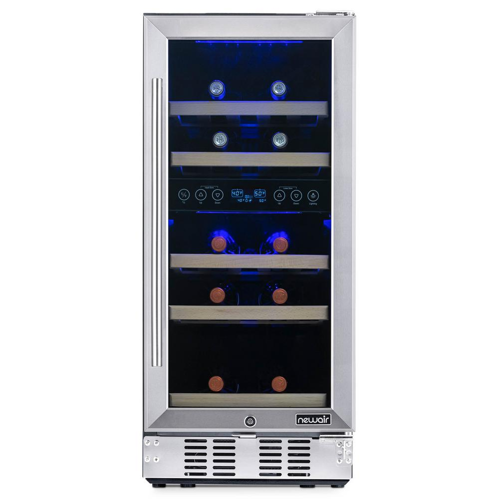 NewAir Dual Zone 15 in. 29-Bottle Built-In Wine Cooler Fridge with Recessed Kickplate and Quiet Operation in Stainless Steel