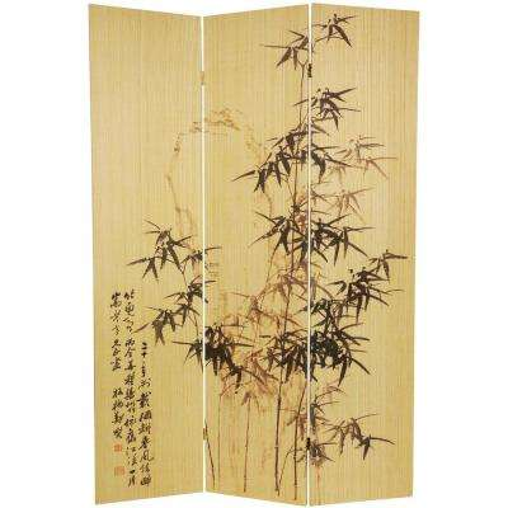 6 ft. Natural 3-Panel Bamboo Design Room Divider