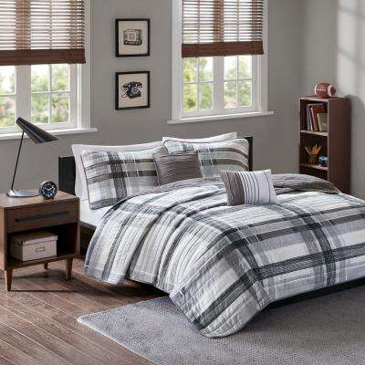 Jax 5-Piece Black Full/Queen Plaid Coverlet Set