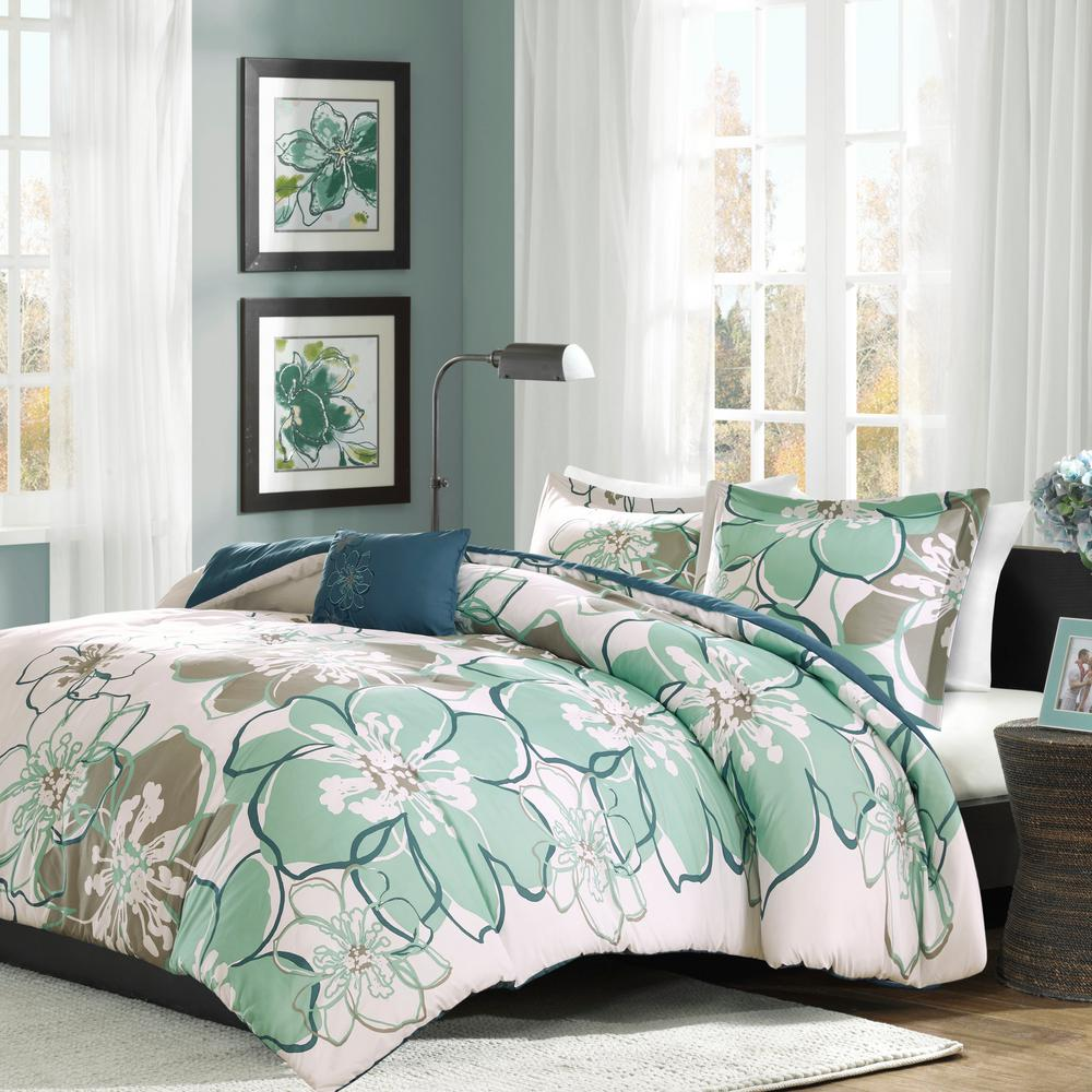 Skylar 4-Piece Blue/Grey Full/Queen Floral Comforter Set