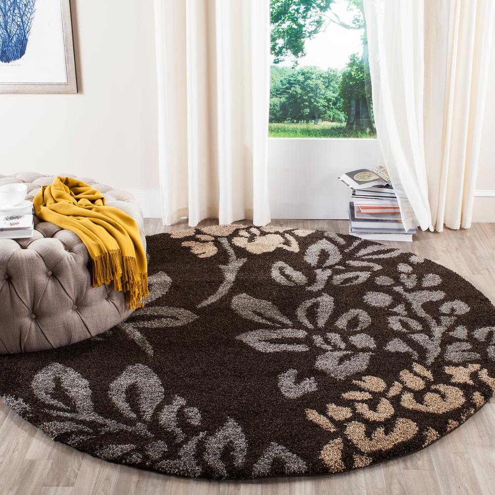 Safavieh Florida Shag Dark Brown/Gray 5 Ft. X 8 Ft. Area Rug SG456 2880 5    The Home Depot