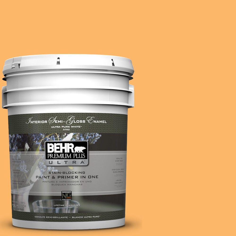 BEHR Premium Plus Ultra 5-gal. #HDC-SM14-11 Yellow Polka Dot Semi-Gloss Enamel Interior Paint