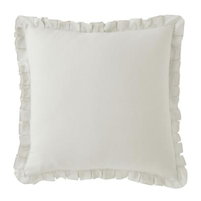 Linen Cotton Solid Snow Ruffled 26 in. x 26 in. Euro Throw Pillow Cover