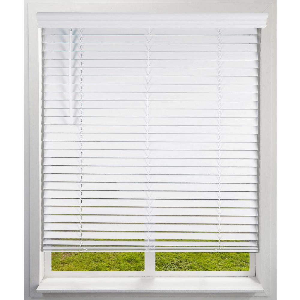 Arlo Blinds White Cordless Room Darkening Faux Wood Blind with 2 in. Slats 34.625 in. W x 60 in. L (Actual Size)