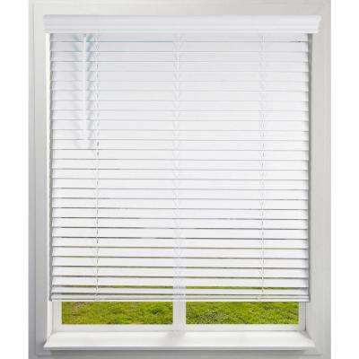 White Cordless Room Darkening Faux Wood Blind with 2 in. Slats 34.625 in. W x 84 in. L (Actual Size)