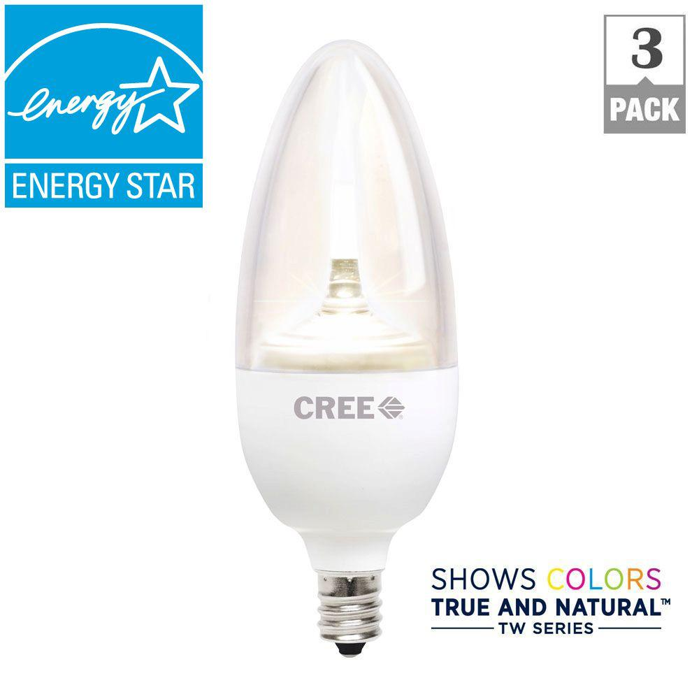 Cree TW Series 25W Equivalent Soft White B13 Medium Candelabra Decorative Dimmable LED Light Bulb (3-Pack)