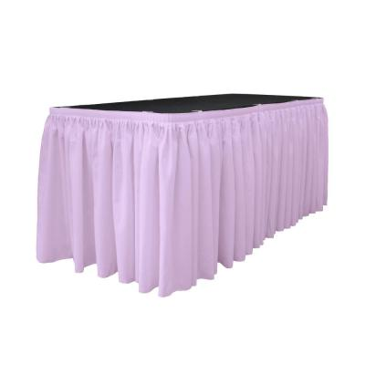 30 ft. x 29 in. Long Lilac Polyester Poplin Table Skirt with 15 L-Clips